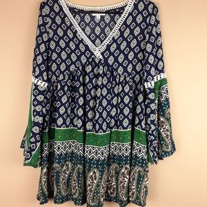 Umgee 3/4 bell sleeve womens top size S